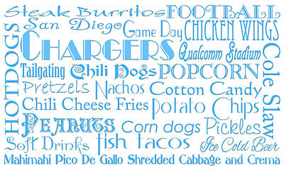 Photograph - San Diego Chargers Game Day Food 1 by Andee Design