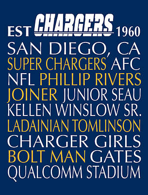 Subway Art Digital Art - San Diego Chargers by Jaime Friedman