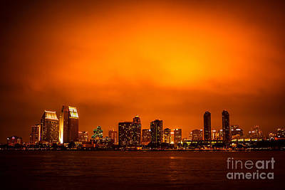 San Diego Bay Photograph - San Diego Cityscape At Night by Paul Velgos