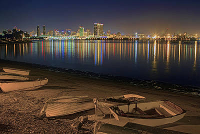 San Diego Harbor Lights Art Print by Gary Holmes