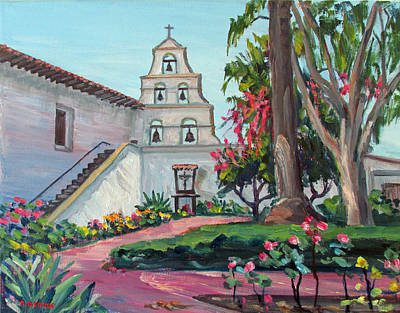 Rose Tower Painting - San Diego Mission Garden In Spring by Robert Gerdes