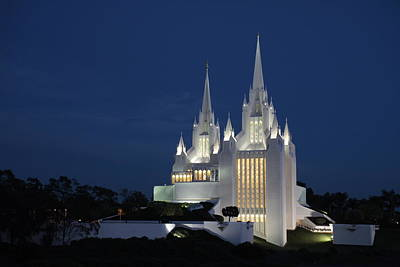Photograph - San Diego Mormon Temple At Dusk by Nathan Rupert