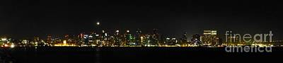 Photograph - San Diego Night Skyline by Barbie Corbett-Newmin