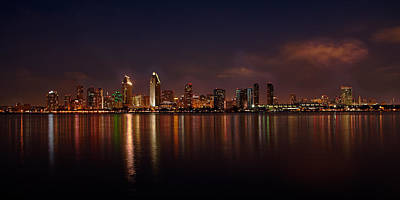 Photograph - San Diego Night Skyline by Peter Tellone