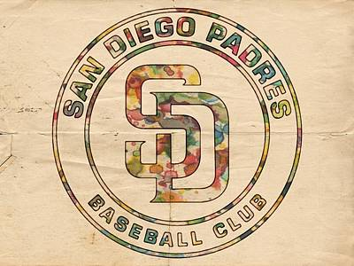 Team Painting - San Diego Padres Logo Art by Florian Rodarte