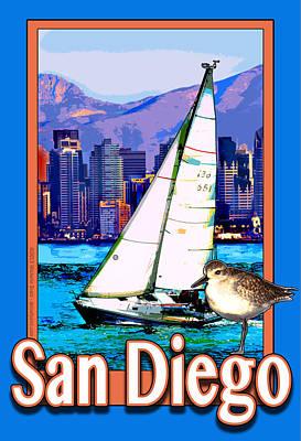 Sandpiper Digital Art - San Diego Poster by Michelle Scott