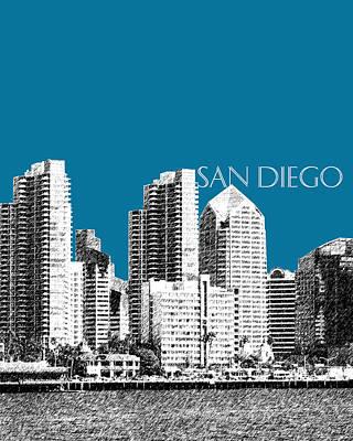 Pen Digital Art - San Diego Skyline 1 - Steel by DB Artist