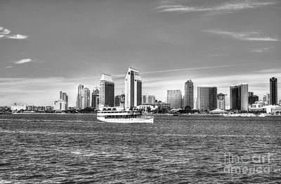 Photograph - San Diego Skyline 2 Bw by Mel Steinhauer