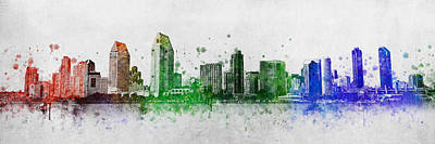Bay Bridge Mixed Media - San Diego Skyline by Aged Pixel
