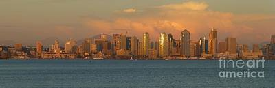 Photograph - San Diego Skyline At Sunset by Barbie Corbett-Newmin