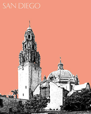 Balboa Digital Art - San Diego Skyline Balboa Park - Salmon by DB Artist