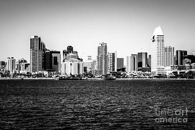 San Diego Bay Photograph - San Diego Skyline Buildings In Black And White by Paul Velgos