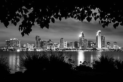 San Diego Skyline Framed 2 Black And White Art Print