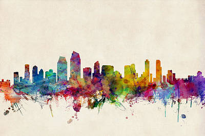 Watercolour Digital Art - San Diego Skyline by Michael Tompsett