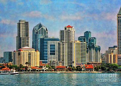 Digital Art - San Diego Skyline by Peggy Hughes
