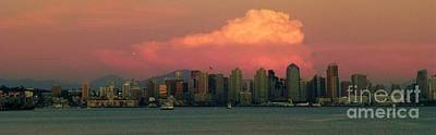 Photograph - San Diego Skyline Sundown by Barbie Corbett-Newmin