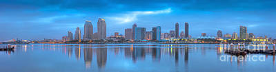 Photograph - San Diego Skyline Sunrise Panorama 2 by David Zanzinger
