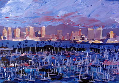 Los Angeles Painting - San Diego Skyline With Marina At Dusk by M Bleichner