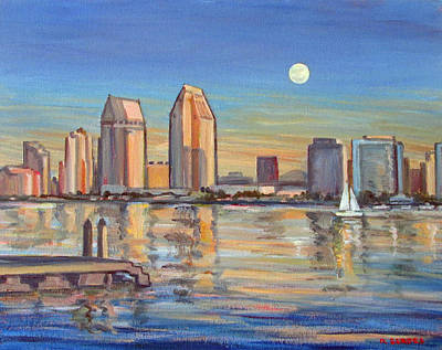 San Diego Skyline With Moonrise Art Print by Robert Gerdes