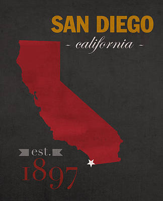 San Diego Mixed Media - San Diego State University California Aztecs College Town State Map Poster Series No 093 by Design Turnpike