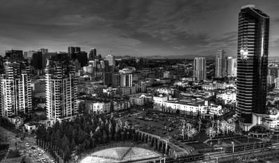 Photograph - San Diego Sunset City View Monochrome  by Heidi Smith