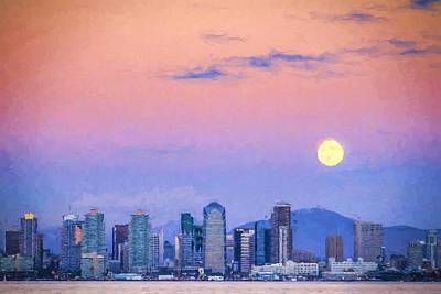 Horizontal Photograph - San Diego Supermoon - Digital Photo Art by Duane Miller