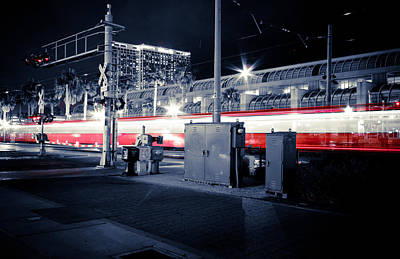 San Diego Convention Center Photograph - San Diego Train - A Red Blur by Anthony Doudt