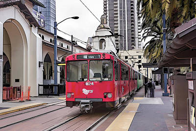 Digital Art - San Diego Trolley by Photographic Art by Russel Ray Photos