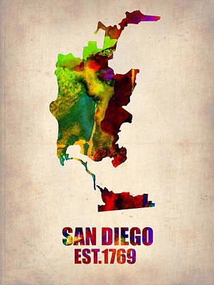 Modern Poster Painting - San Diego Watercolor Map by Naxart Studio