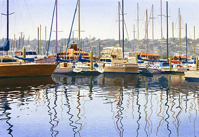 Yachts Painting - San Diego Yacht Club by Mary Helmreich