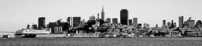Photograph - San Fran Skyline Panorama Black And White by Benjamin Yeager