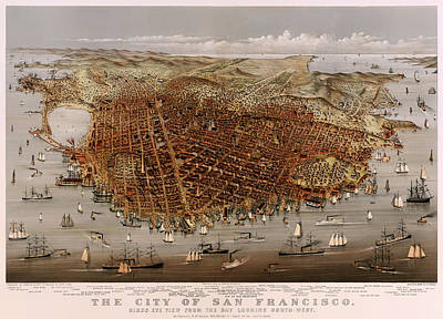 Beautiful. Pretty Drawing - San Francisco 1877 by Mountain Dreams