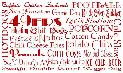 Digital Art - San Francisco 49ers Game Day Food 1 by Andee Design