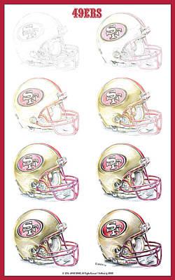 San Francisco 49ers Helmet Steps Art Print by James Sayer