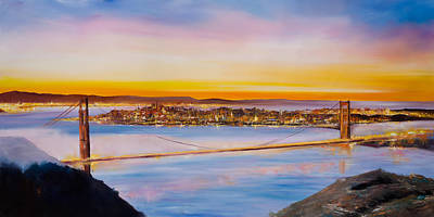 Sunset Painting - San Francisco Abstract by Manit