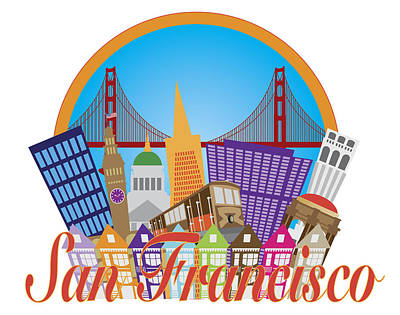 Sean Rights Managed Images - San Francisco Abstract Skyline Golden Gate Bridge Illustration Royalty-Free Image by Jit Lim