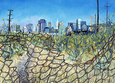 Art Print featuring the painting San Francisco And Flowery Vagabond Path Of Yesterday by Asha Carolyn Young