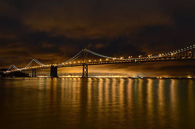 San Francisco - Bay Bridge At Night Art Print