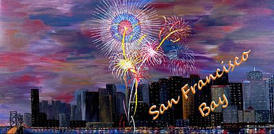 4th July Painting - San Francisco Bay City Celebration by Mark Moore
