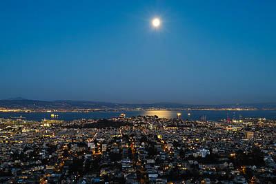 San Francisco Bay Full Moon Art Print