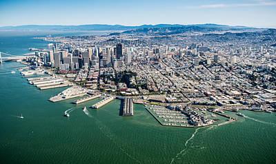 Helicopter Photograph - San Francisco Bay Piers Aloft by Steve Gadomski