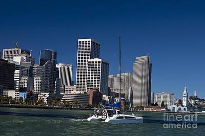 Jason O. Watson Photograph - San Francisco Bay Sailboat Downtown by Jason O Watson