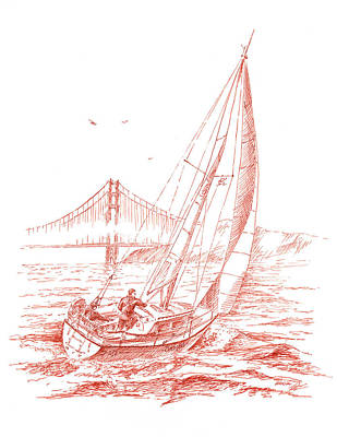 San Francisco Bay Sailing To Golden Gate Bridge Art Print