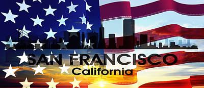Abstract Skyline Mixed Media - San Francisco CA Patriotic Large Cityscape by Angelina Tamez
