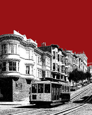 Tower Digital Art - San Francisco Cable Car 2 - Dk Red by DB Artist