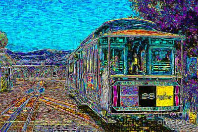 Streetcar Digital Art - San Francisco Cablecar - 7d14097 by Wingsdomain Art and Photography