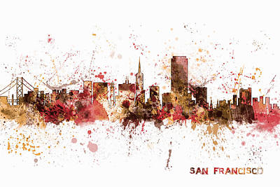 San Francisco California City Skyline Art Print