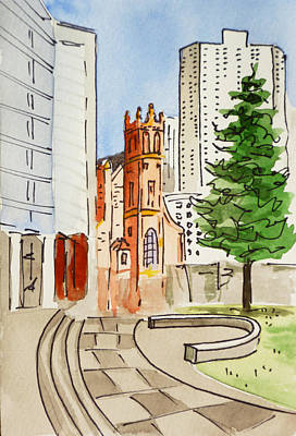 A White Christmas Cityscape - San Francisco - California Sketchbook Project by Irina Sztukowski