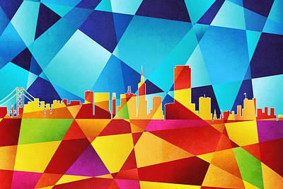 Abstracted Digital Art - San Francisco California Skyline by Michael Tompsett