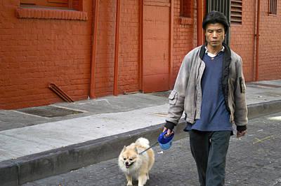San Francisco Chinatown Dog Walker Art Print by Christopher Winkler